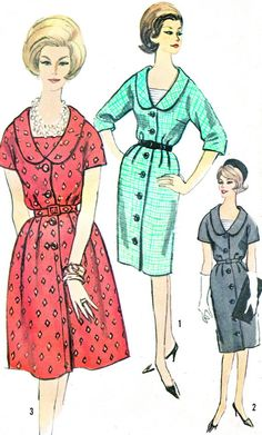 1960s Dress Pattern Simplicity 4097 Full or Slim by paneenjerez, $14.00