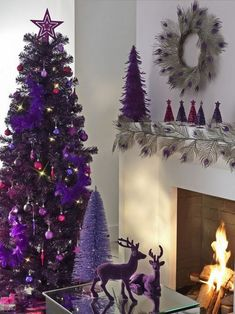 Deep Purple Christmas Colors, 25 Ways to Add Ultra Violet Accents to Your Holiday Decor Purple Christmas Decorations, Christmas Colors, All Things Christmas, Christmas Arrangements, Noel Christmas, Winter Christmas, Christmas Tables, Coastal Christmas, Christmas Photos