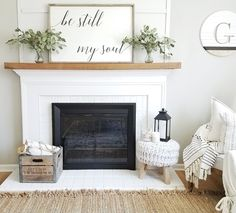 Modern Farmhouse Decor | Living Room Decor Ideas | Floating Wood Mantle | Be Still My Soul | Fixer Upper | Joanna Gaines | White Brick Fireplace | Farmhouse | Rustic Decor | Wood Signs | Rustic Sign #fireplace_decor_fixer_upper