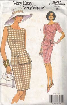 Chic Vintage Vogue 8347 Womans Semi Fitted Sleeveless or Short Sleeved Top Round Neck Tapered Slim Skirt Uncut Sewing Pattern Size 12 14 16 Vintage Vogue Patterns, Vogue Sewing Patterns, Clothing Patterns, Dress Patterns, Marfy Patterns, Vintage Dresses, Vintage Outfits, Vintage Fashion, Vintage Clothing