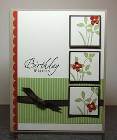 "punches really make this card...Scallop border, Itty Bitty punches, 1 1/4"" and 1 3/8"" square punches."