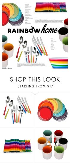 """""""Rainbow Home Decor"""" by heather-reaves ❤ liked on Polyvore featuring interior, interiors, interior design, home, home decor, interior decorating, Fiesta, Le Creuset, NOVICA and Evergreen"""