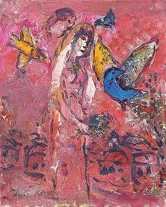 ** Marc Chagall 1887-1985 (russe, français) La mariée sur fond rose, c.  1966 huile sur toile marouflée sur carton