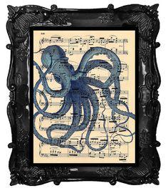 Antique Octopus Art Print Antique Music Sheet by BlackBaroque, $10.00