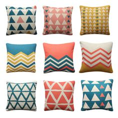 Tribal Triangles Grid Cushion Cover Peach Coral Blue Yellow BOHO Pillow Cover Boho Pillows, Throw Pillows, Geometric Cushions, Coral Blue, Triangles, Grid, Pillow Covers, Peach, Ebay