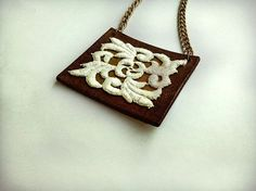 Brown leather necklace Handmade leather by UniqueLeatherDesign