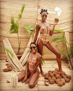 Two queens, two swimsuits, one love: Afrikrea! and came by our Gifting Villa in Accra and wore these stunning Ashanti Swimwear and Lafalaisedion bags. Available on Afrikrea only. Photoshoot Concept, Photoshoot Ideas, Modern African Clothing, Accra, Black Girl Fashion, Bikini Babes, Swimsuits, Swimwear, Black People