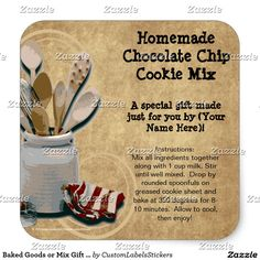 Baked Goods or Mix Gift Jar Labels, Personalized