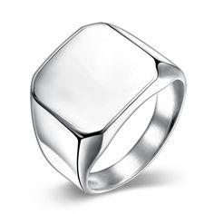 Trendy Platinum Plated Geometric Ring for Men SSTR025