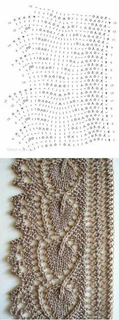 - Knitting and Crochet - Fabulous Leaf lace edging - Lace Knitting Patterns, Knitting Stiches, Knitting Charts, Lace Patterns, Knitting Designs, Knitting Projects, Crochet Stitches, Stitch Patterns, Crochet Minecraft