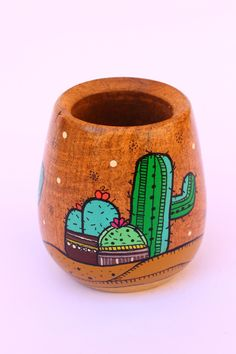 mates pintados - Google Search Mini Cactus, Cactus Pot, Cactus Flower, Indoor Cactus, Cactus Plants, Painted Clay Pots, Painted Flower Pots, Diy Crafts To Do, Clay Pot Crafts