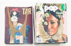 Embellished necklace on vintage magazines