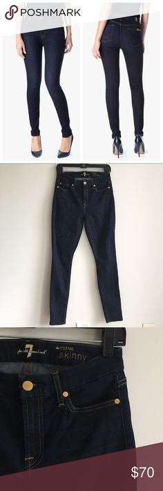 """7 For All Mankind Mid Rise Dark Skinny Jeans Waist 13.75"""" 