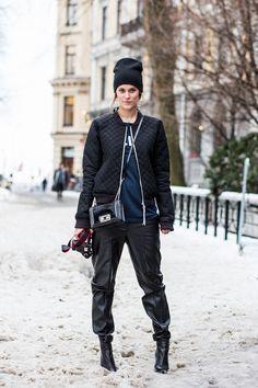 Sara Strand / Biker Jacket  #streetstyle