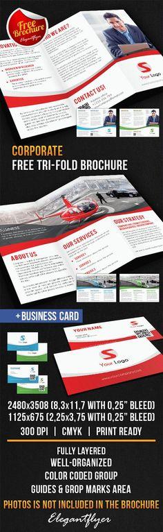Corporate Tri-Fold Brochure – Free PSD Template => More at designresources.io
