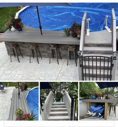Above Ground Pool Landscaping, Above Ground Pool Decks, Backyard Pool Landscaping, Above Ground Swimming Pools, Ground Pools, Backyard Ideas, Pool Deck Plans, Outside Pool, Mini Pool