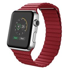 Apple Watch Armband,Wollpo® Echtes Leder Schleife mit Magnetisch Ersatz Bügel Uhrenarmband Armband für Apple Watch 38mm (genuine leather loop-Red 38mm) - http://uhr.haus/wollpo/genuine-leather-loop-red-38mm-fitbit-blaze-band