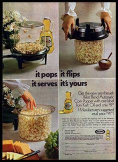 #1969 Kraft West Bend Automatic #Popcorn Maker #Kitchen #1960s #Vintage Print #Ad #Kraft