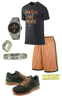 nike shoes Mens fashion orange and gray nike outfit