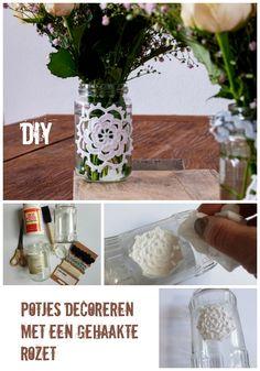 Pin: Potjes decoreren met een gehaakte rozet - Diy Blog Names, Diys, Glass Vase, Diy Crafts, Etsy Shop, Messages, Projects, Handmade, Log Projects