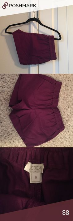 Purple JCrew shorts Purple/Plum JCrew shorts with a 3 inch inseam and side pockets. Never worn. Runs true to size. Smoke free pet free home J. Crew Shorts