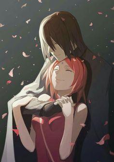 Sakura, Sasuke, couple, sakura blossoms; Naruto