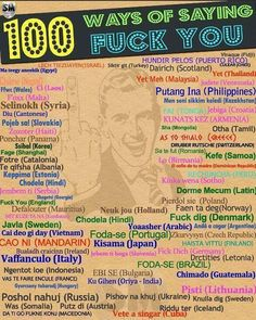 100 Ways Of Saying Fuck You -  If only this came with a pronunciation guide!