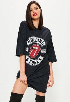 Black Rolling Stones Rock T-Shirt Dress