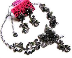Betsey Johnson crystal Butterflies/flowers tendril Necklace Eardrop Set#005Z