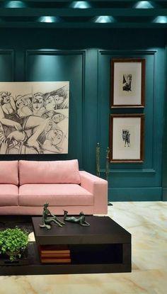 Dark walls & velvet sofa