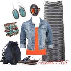 Striped Maxi Style with solid shirt and jean jacket ❤️ Modest Fashion, Skirt Fashion, Fashion Outfits, Apostolic Fashion, Cool Outfits, Casual Outfits, Summer Outfits, Maxi Skirt Outfits, Maxi Styles