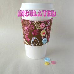 Butterfly coffee sleeve cup cozy Pastel spring by DeegeeMarieGifts