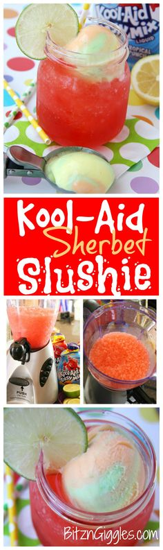 Kool-Aid Sherbet Slushie - A refreshing Kool-Aid slushie topped off with a creamy scoop of rainbow sherbet! #PourMoreFun #ad @Walmart