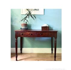 Beautiful Edwardian antique desk with turned legs, double drawers, gorgeous patina and plenty or room for long legs. In good vintage condition with some light wear commensurate with age and originality which adds to the character and beauty of the piece. This would make a wonderful work from home desk, with a great slim rectangular shape and lots of space on top for computers, lighting and plenty of storage in the drawers. Dimensions are 115cms length x 82 height x 54cms depth. The ... Antique Desk, Home Desk, Find Furniture, Long Legs, Computers, Entryway Tables, Drawers, Slim, Flooring