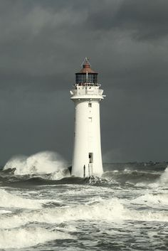 Lighthouse in an Irish Sea Storm