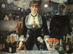 Edouard Manet (1882). I love the sadness in this girls eyes despite the gala party that is reflected in the mirror behind her. Brilliant!