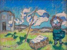 Drying the Laundry - Marcus Collin , 1941  Finnish , 1882–1966  Pastel , 24x32,5 cm.
