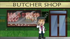 A Doctor On Call At Exterior Of A Butcher Shop :  A man with dark brown hair wearing a pink dress shirt purple necktie gray belt dark blue pants black shoes and white jacket parts his lips to speak while holding his gray cellphone to his ear using his right hand as his left hand carries a dark gray folder. Set in outside a butcher shop where there is meat hanging in the window and a sale sign on the wall next to the front door.