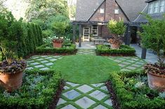The Garden Aesthetic  diagonal pavers with grass