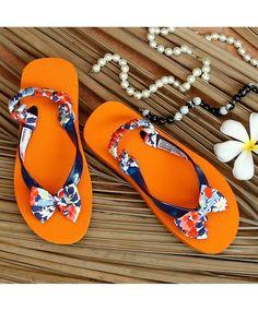 17127b96d Buy D chica Orange Trendy Flip Flop With Floral Bow online