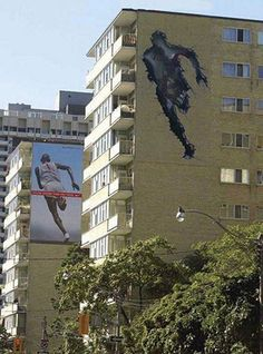 Nike. No need to leap tall buildings when you can run through them.