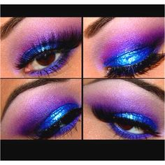 Purple and blue blended eye makeup :)