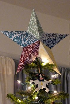 DIY Christmas Tree Topper - I used cardboard and covered it in fabric instead of using card stock, turned out amazing!