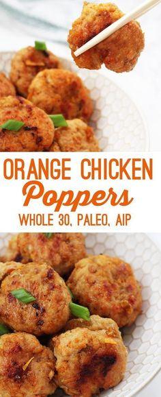 Orange Chicken Poppers (Paleo Whole 30 AIP) Source by Paleo Menu, Paleo Recipes Easy, Paleo Vegan, Paleo Dinner, Whole Food Recipes, Diet Recipes, Diet Tips, Paleo Food, Recipes Dinner
