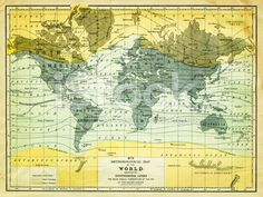 map of the world 1867 royalty-free stock photo