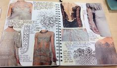 Rebekah Gibb A2 textiles unit3 CNC Sketchbook Layout, Textiles Sketchbook, Fashion Design Sketchbook, Sketchbook Inspiration, Fashion Sketches, Sketchbook Ideas, A Level Textiles, Creative Journal, Portfolio Design