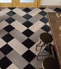 commercial linoleum flooring- I'd take out the black and keep the chevron look.