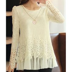 Stylish Round Neck Long Sleeve Spliced Solid Color Blouse For Women Cheap Blouses, Cute Blouses, Blouses For Women, Online Blouse Shopping, Cheap Plus Size Clothing, Trendy Fashion, Womens Fashion, Fashion Ideas, Strapless Tops