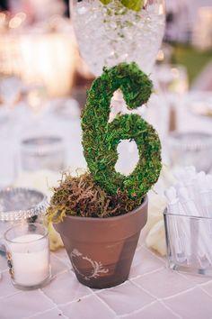 Moss Table Numbers via Full Spectrum Photography / http://www.deerpearlflowers.com/diy-wedding-table-number-tutorials-samples/5/