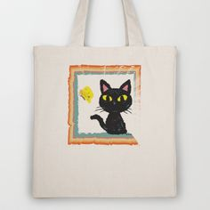 Butterfly and Cat Tote Bag by BATKEI